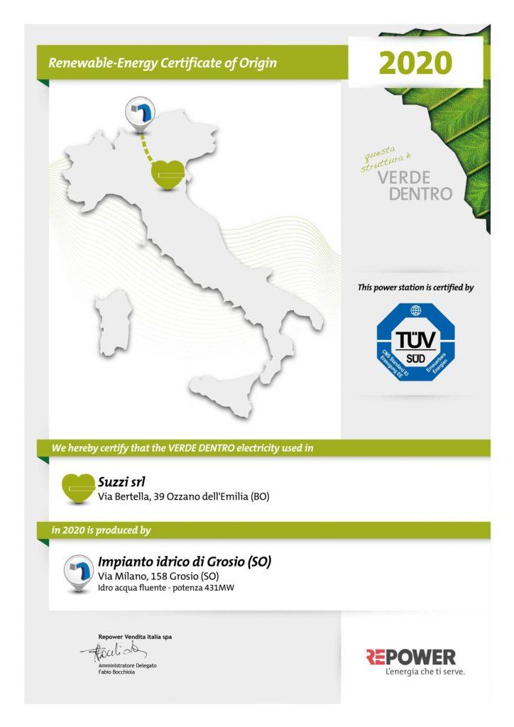 Suzzi -  Renewable-energy certificate of origin